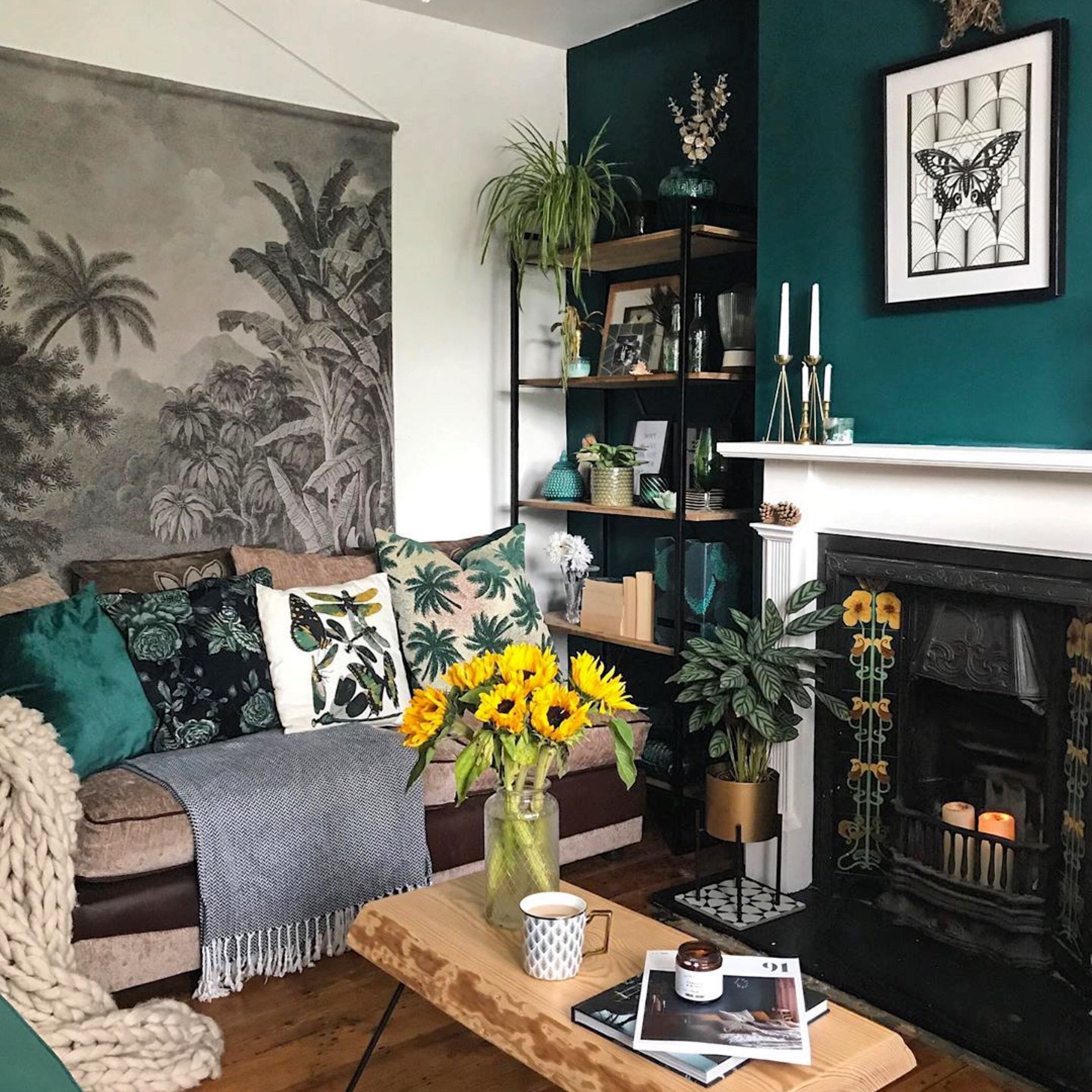 Cast Iron Fireplace With Victorian Inspired Tiles Living Room Color Schemes Green Walls Living Room Living Room Color