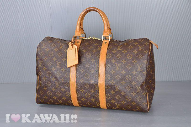 Authentic Louis Vuitton Monogram Keepall 45 Travel Bag M41428