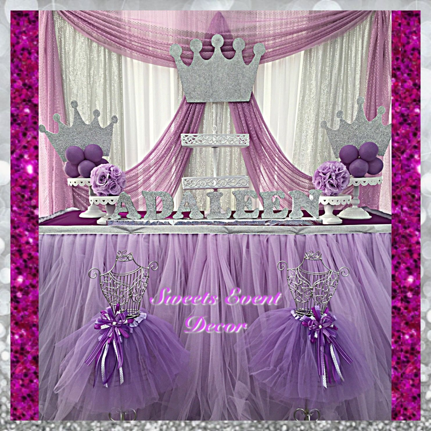 princess theme fabric decor by: sweets event decor | balloon decor
