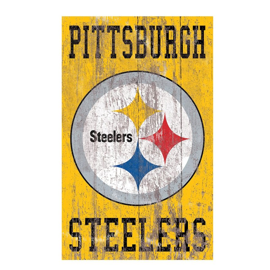 Pittsburgh Steelers Logo Sign Wall Art, Team Pittsburgh