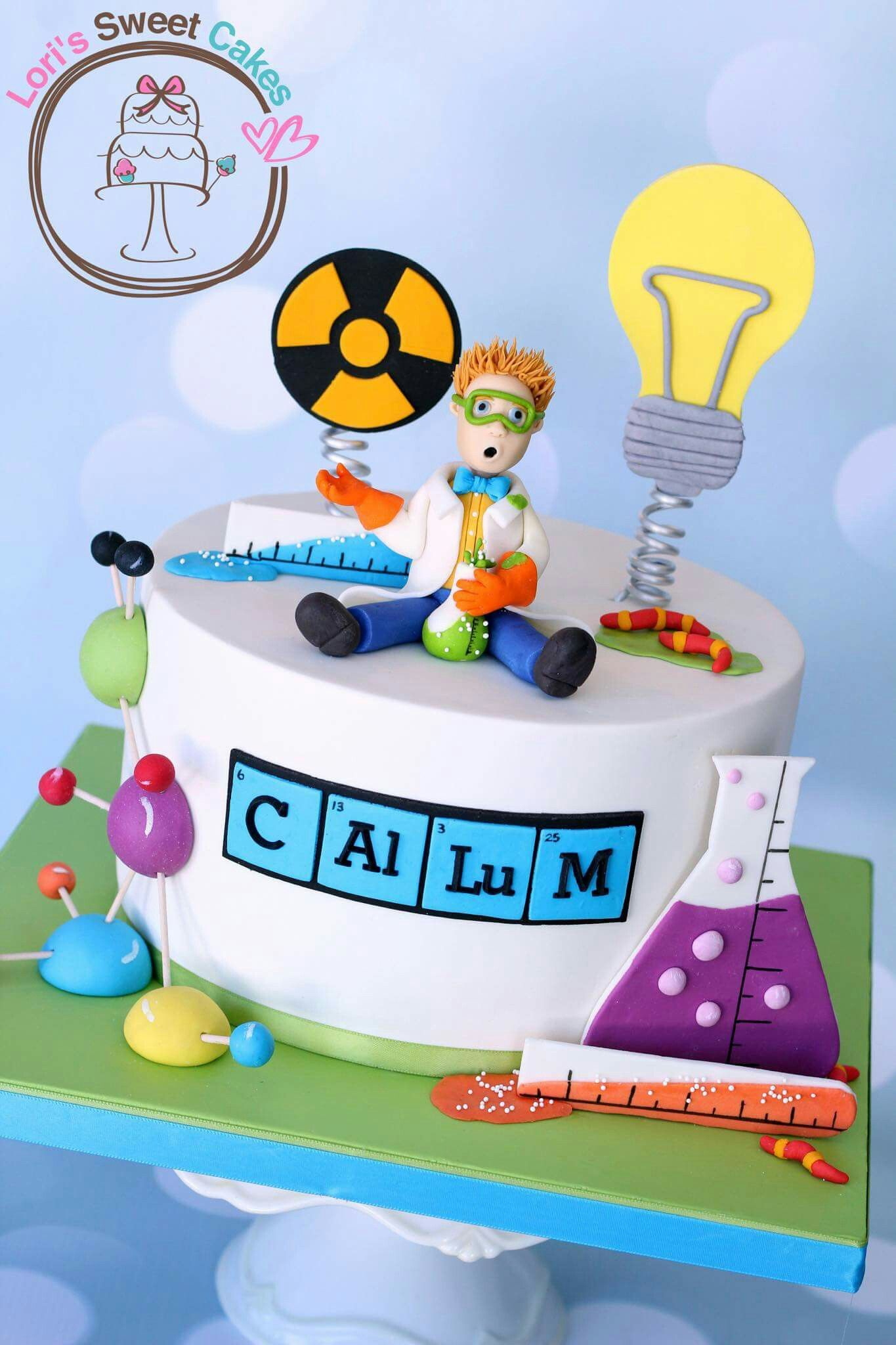 Science Cake With Images Scientist Birthday Party Science