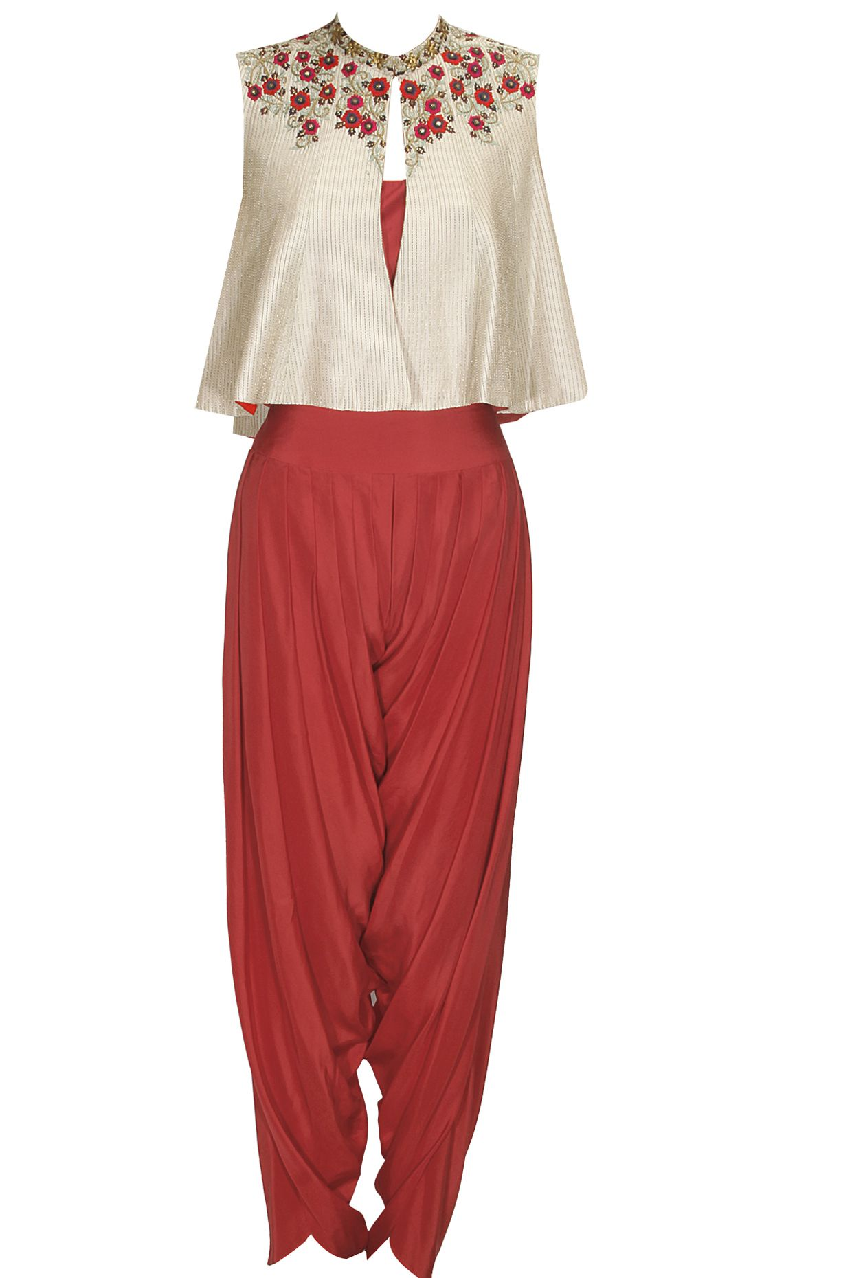 49c299892 Ivory and red floral embroidered jacket with dhoti pants available only at Pernia's  Pop Up Shop.