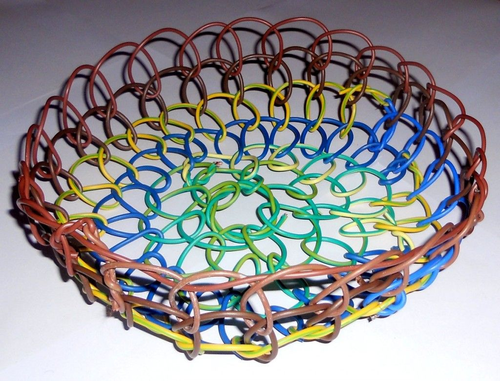 Basket Made From Electrical Wire | Electrical wiring, Wire ... on basket cabinets, basket frame, basket painting, basket bracket, basket lamps,