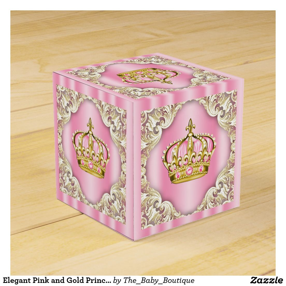 Elegant Pink and Gold Princess Crown Wedding Favour Boxes ...