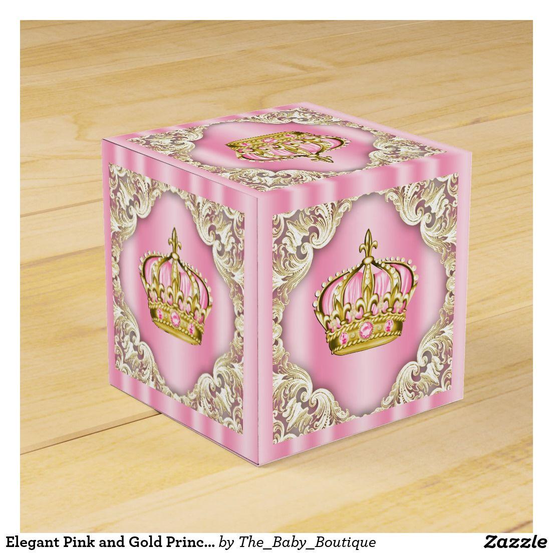 Elegant Pink and Gold Princess Crown Wedding Favour Boxes ...