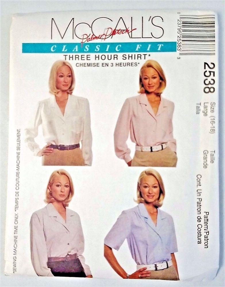 McCall\'s Sewing Pattern Palmer Pletsch Women\'s CLASSIC SHIRT 2538 Sz ...