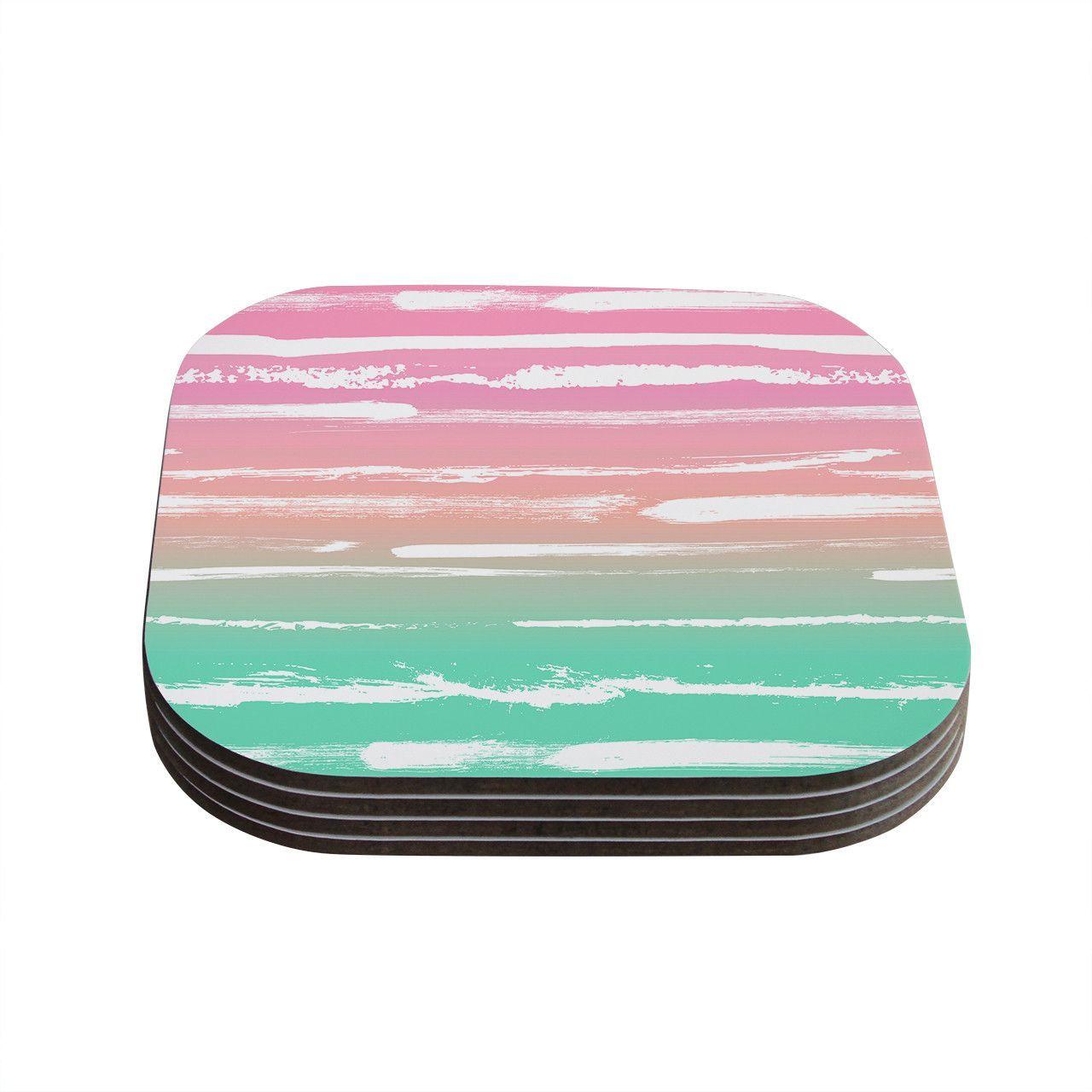 "Anneline Sophia ""Painted Stripes Pink"" Green Pink Coasters (Set of 4)"
