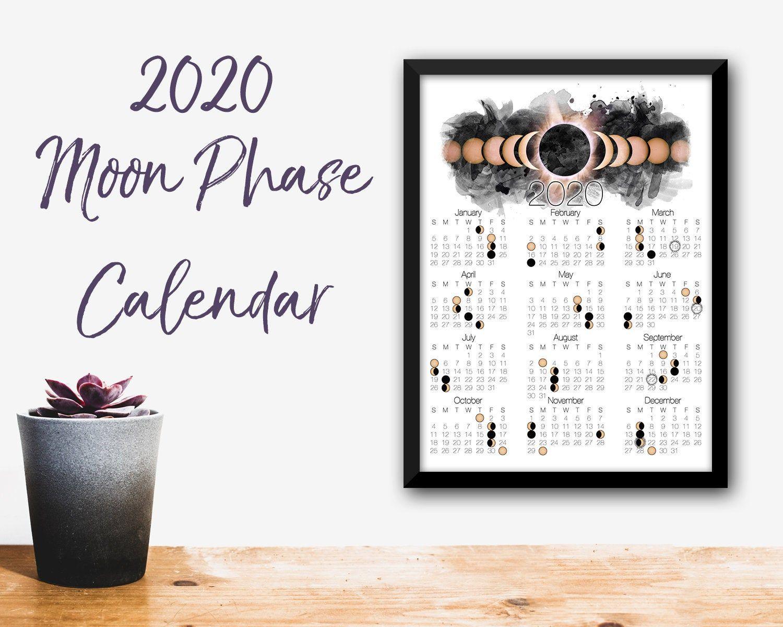 2020 Moon Phase Calendar Lunar Calendar with Solar Eclipse