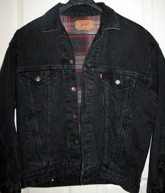 Vintage Levi S Denim Jacket Black Heavy Duty By Sanctuaryofstyle