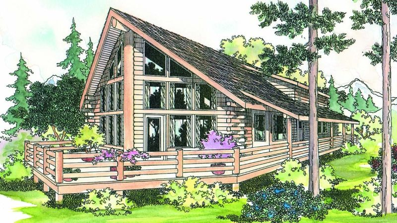 This Spacious Contemporary Log Cabin Home Plan Is Designed As A Vacation Retreat But Has All The Amen A Frame House Plans Log Cabin House Plans Log Home Plans