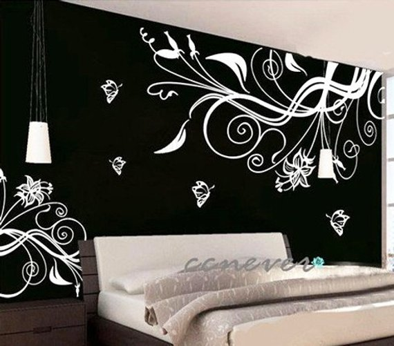 flower blooming butterfly 80x60 inch----art graphic wall decals