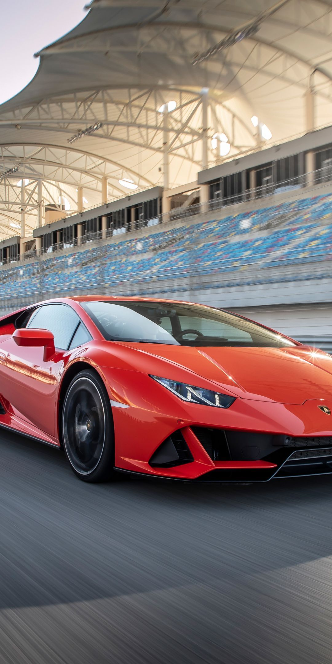 Lamborghini Huracan EVO, red sports car, front, 1080×2160 wallpaper