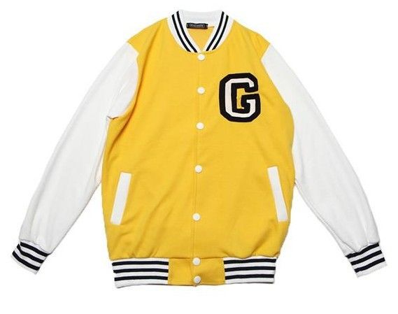 Letter C Baseball Jacket For Girls & Boys White and Yellow [Letter ...