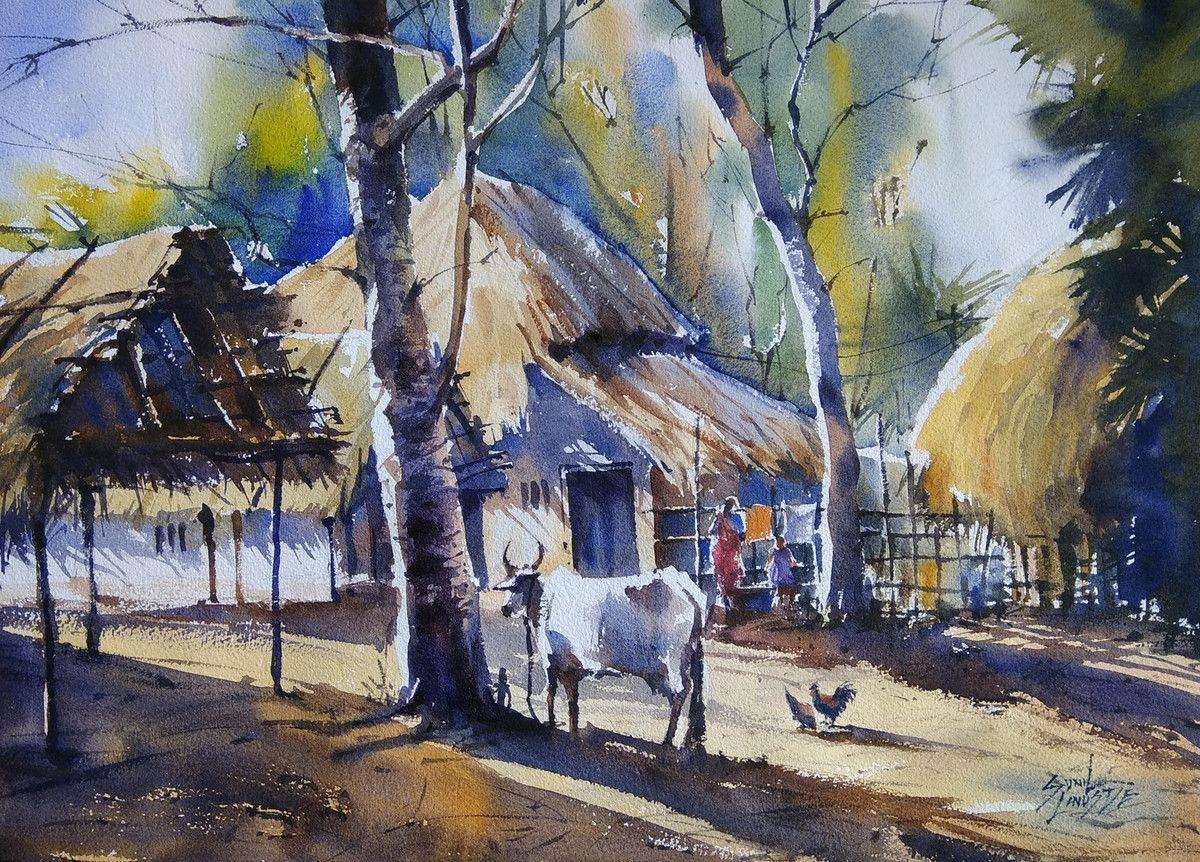 Village Life In 2020 Watercolor Scenery Watercolor Landscape