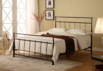 Amazon Com Black Metal Queen Size Bed Headboard Footboard Rails