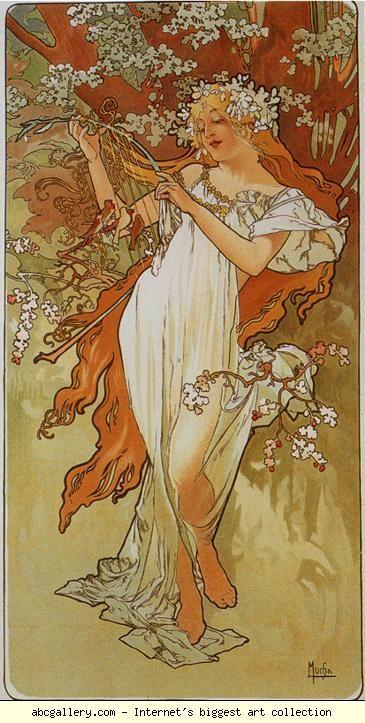 Alphonse Mucha. Spring. From The  Seasons Series.