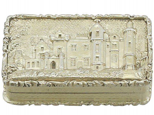 an exceptional fine and impressive antique victorian english sterling silver gilt castle top vinaigrette depicting