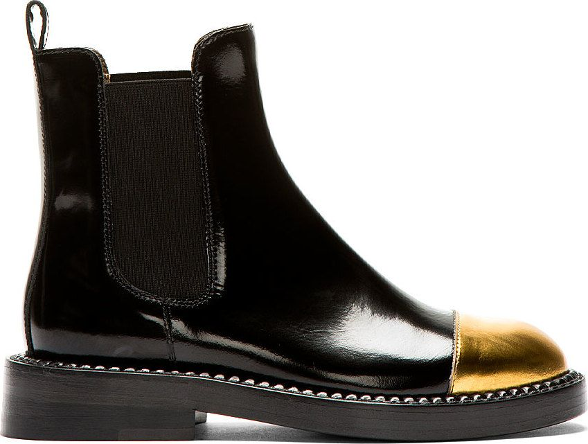 33c393f83a Black Leather Gold Toe Chelsea Boots by Marni. PERFECTION.