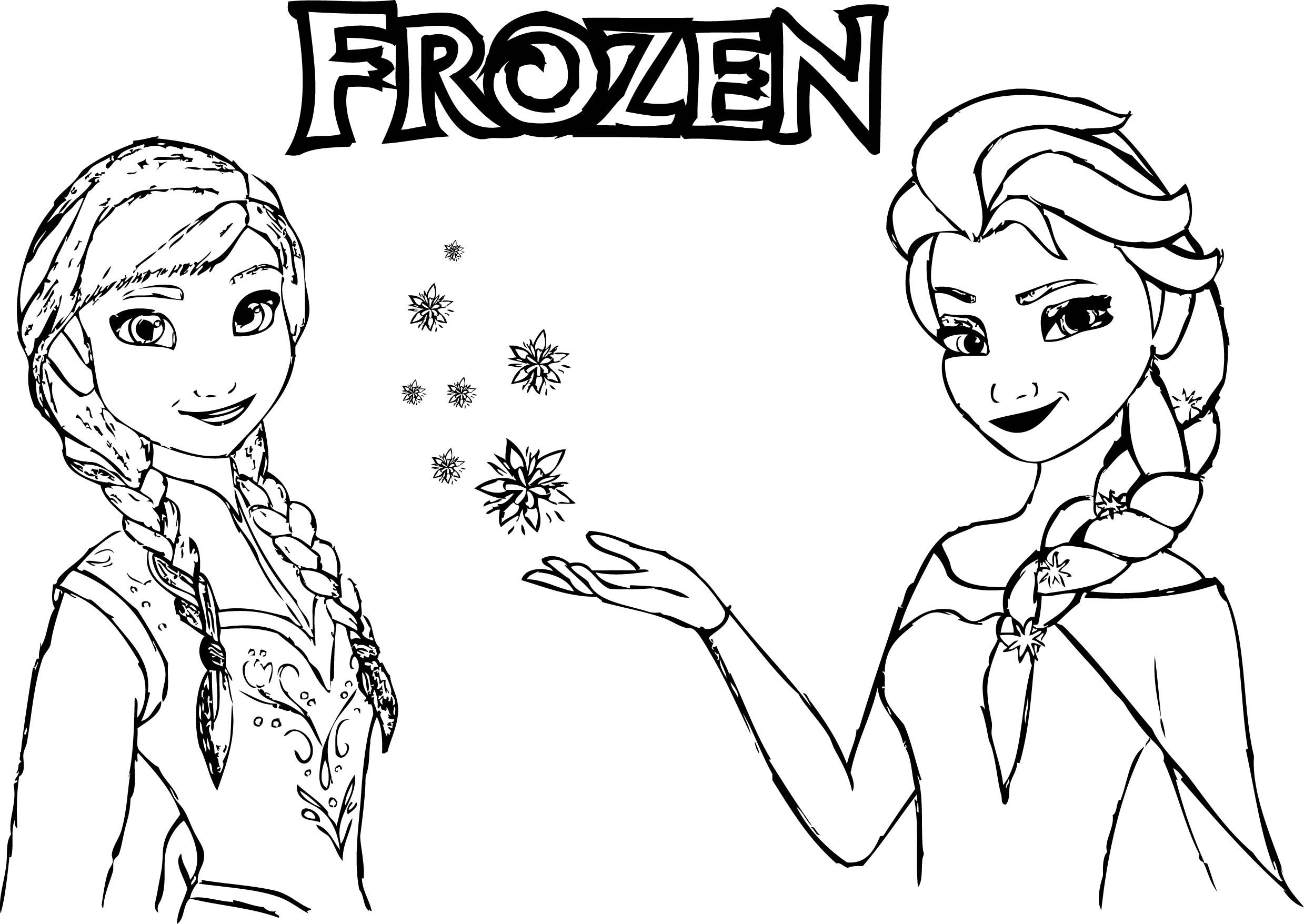 frozen anna elsa magic coloring page