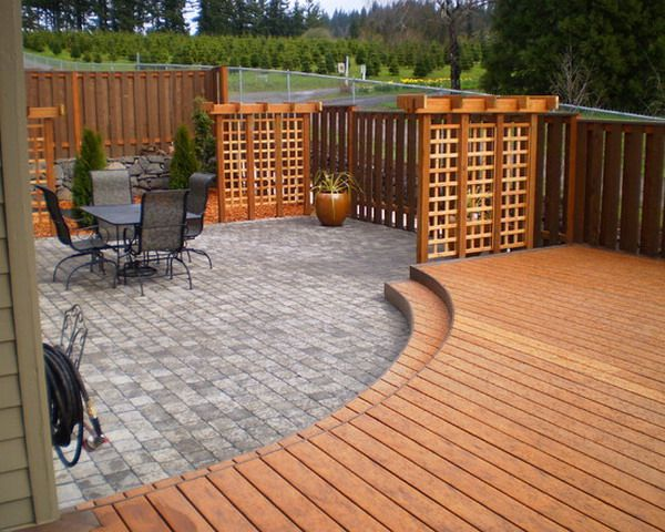 Decks Design Ideas if your yard is conducive to a platform deck design consider a slight level change Deck And Patio Combinations Combined Patio Deck And Flagstone Patio Best Patio Design Ideas Deck