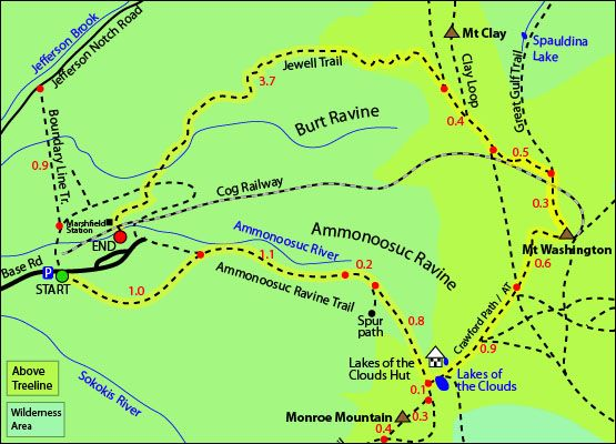 Jewell Trail Mt Washington Map.Mount Washington Map Ammonoosuc Ravine Trail Mt Washington Cog
