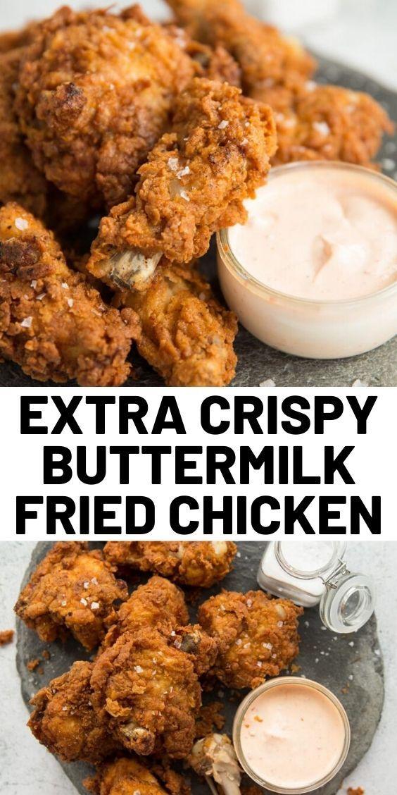 Extra Crispy Buttermilk Fried Chicken In 2020 Fried Chicken Recipes Easy Chicken Recipes Delish Recipes