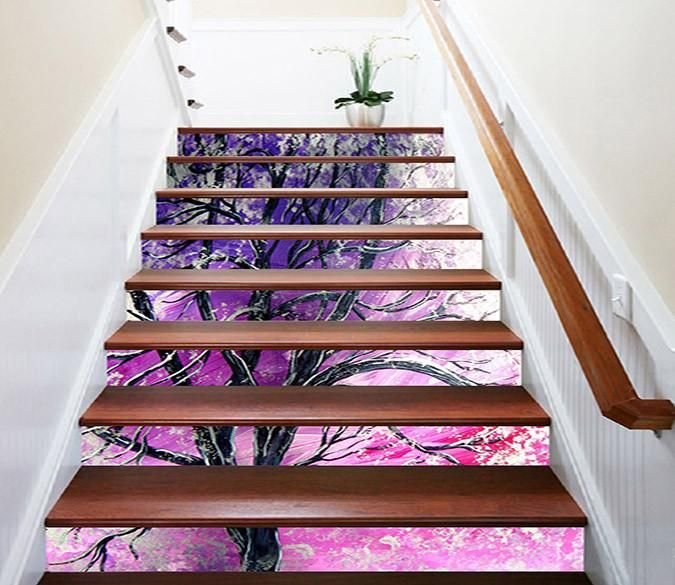 25 Pretty Painted Stairs Ideas: 3D Pretty Tree Painting 902 Stair Risers