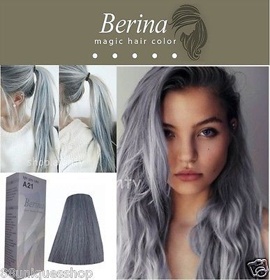 BERINA NO A21 Permanent Color Hair Dye Cream Unisex - Light Grey Punk - EXCLUSIVE DEAL! BUY NOW ONLY $7.45