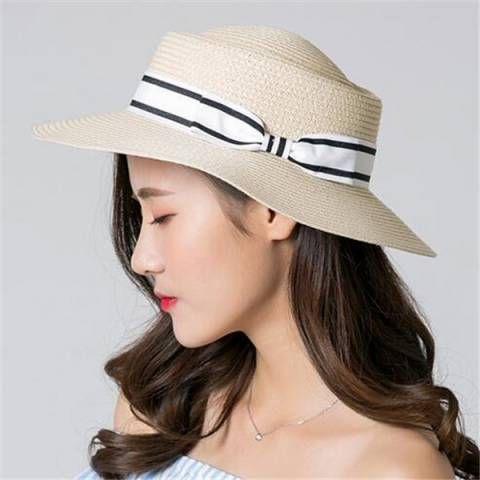 65f455e2b Bow straw pork pie hat for women fashion flat brim sun hats beach wear
