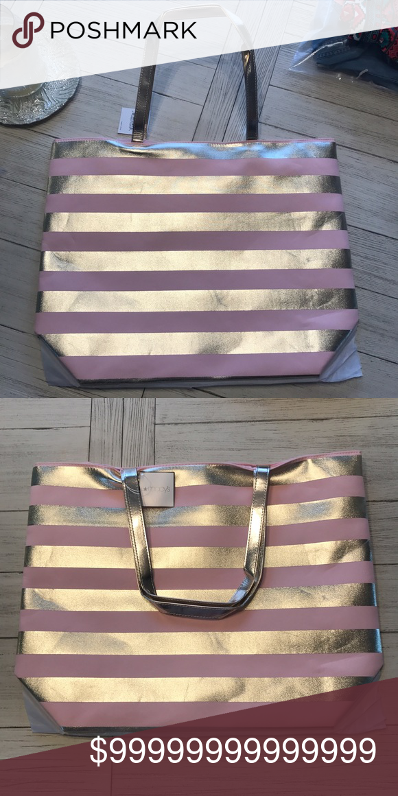 ❗️FREE❗️ with $20 purchase! Free tote from Macy's!  New, never used in bag.  Gold and pink! Bags Totes