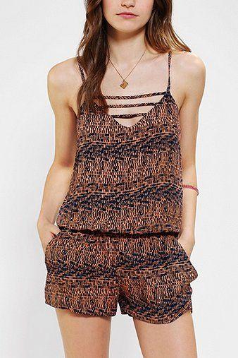 Lucca Couture Lattice V-Neck Romper -- $20