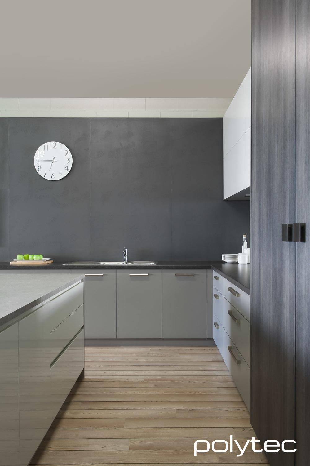Thermolaminated Overhead Doors In Manchester Melamine Doors And - Matt grey kitchen doors