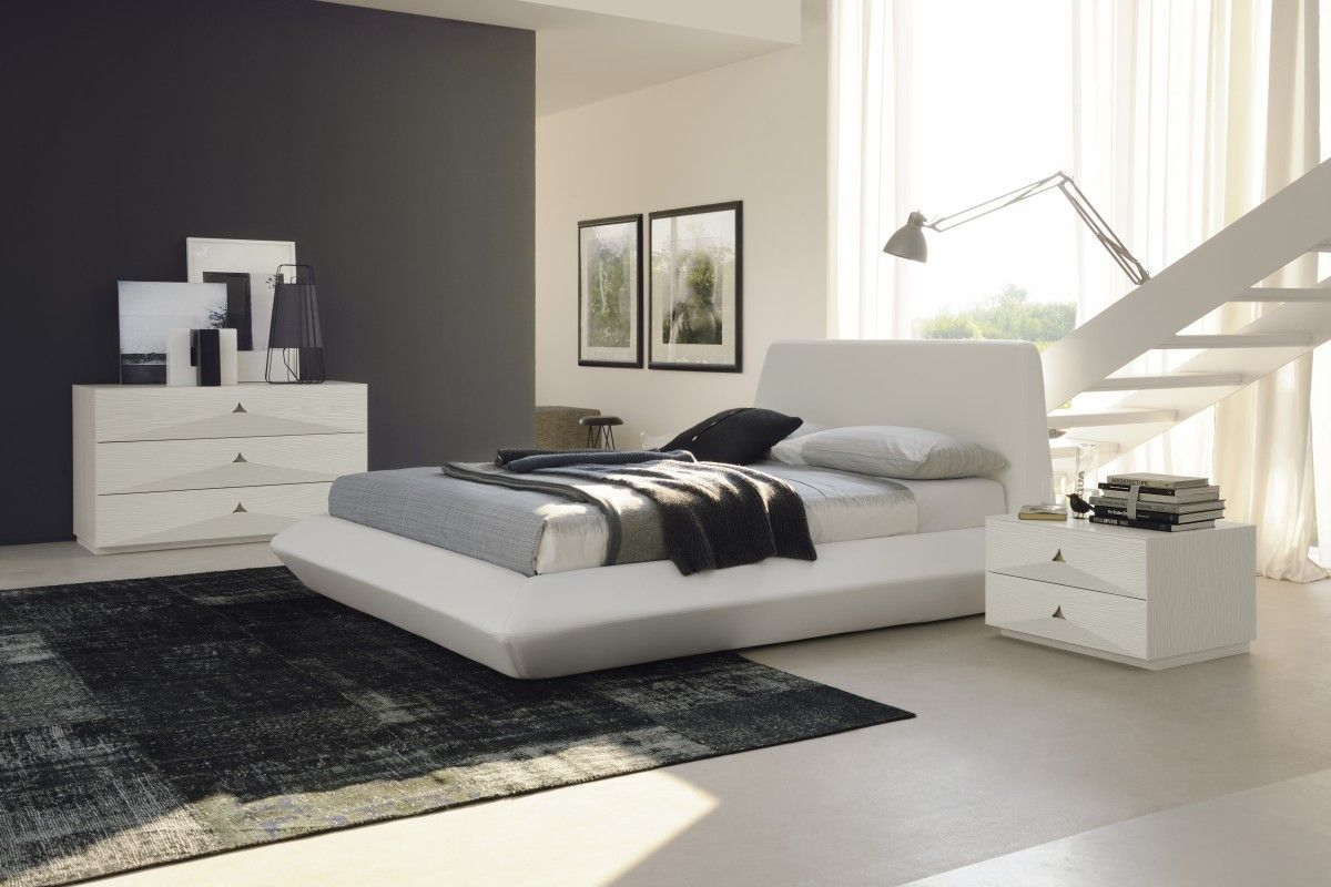 Contemporary Bedroom Furniture Designs Classy Contemporary Leather Platform Bed Furniture In White  $4080 Design Inspiration