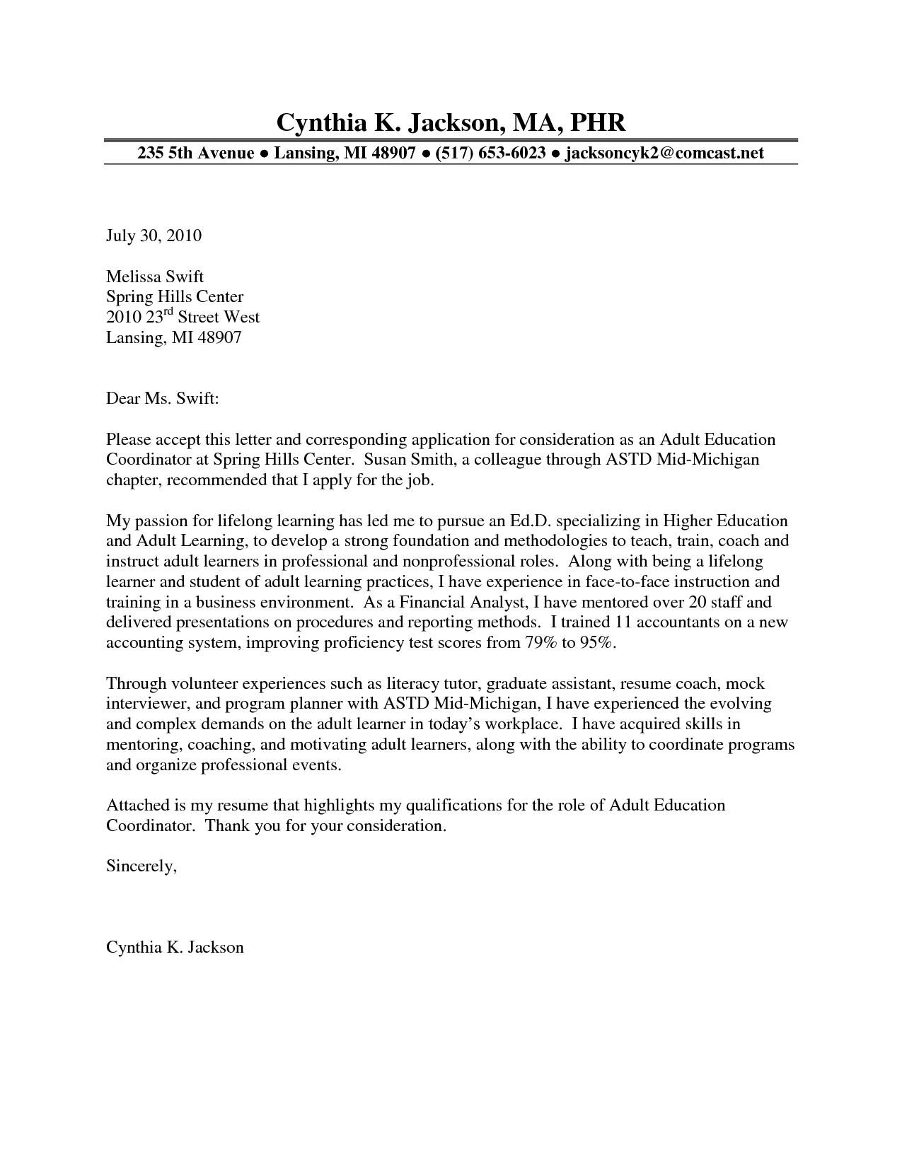 sample cover letter for education coordinator cover letter sample cover letter for education coordinator