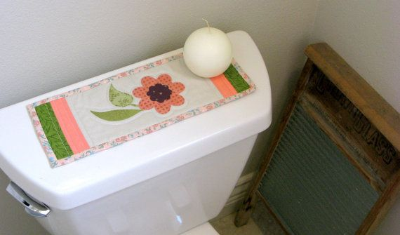 Toilet Tank Topper Floral Quilt Table By Mondaymondaydesign Bath Decor Quilted Table Runners Table Runners