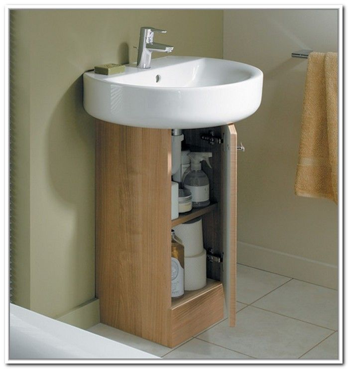 Cute Design Of Wooden Pedestal Sink Storage Idea To Decorate Narrow Bathroom