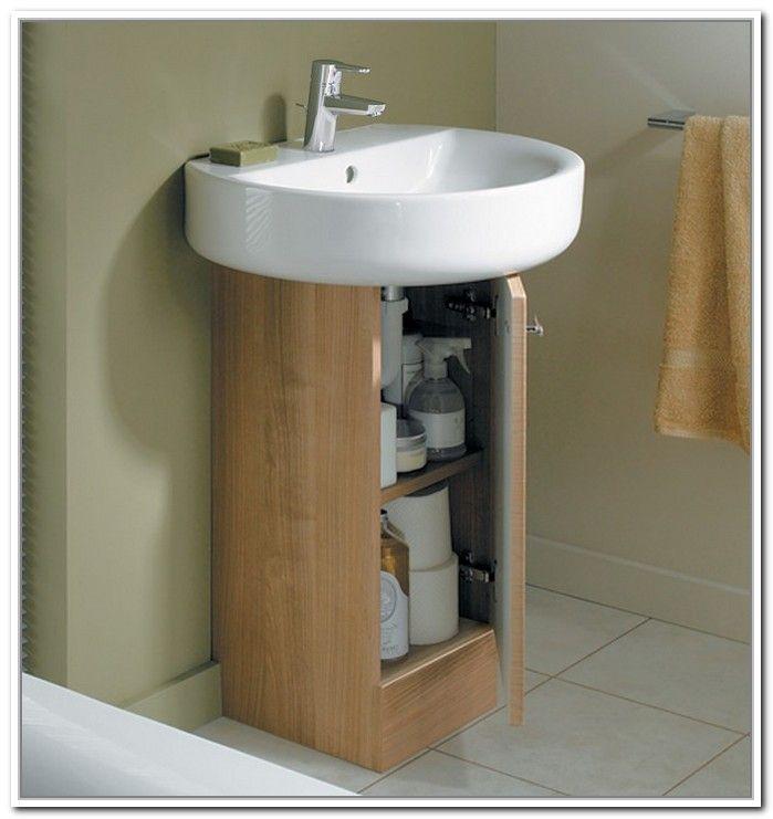 Cute Design Of Wooden Pedestal Sink Storage Idea To Decorate