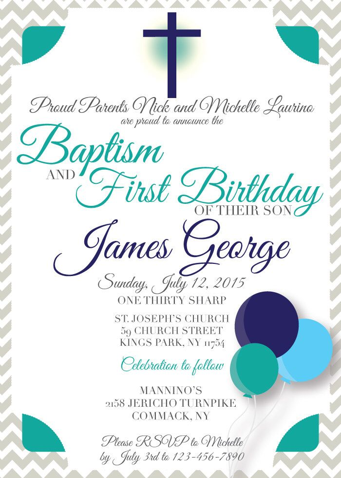 Baptism Birthday Invitation, Baptism Birthday Invitation Boy ...