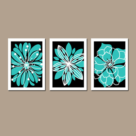 Kitchen Print Kitchen Wall Art Purple Kitchen Decor Gratitude: Turquoise Black Flower Wall Art Canvas Or Prints Turquoise