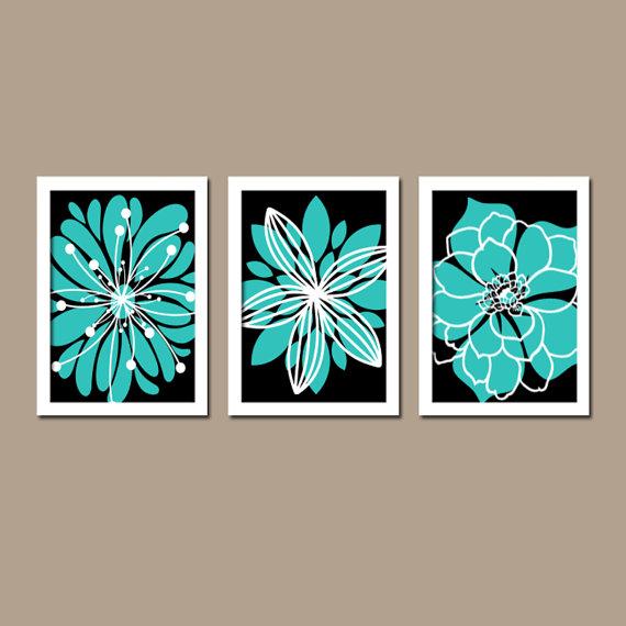 Turquoise Black Wall Art, CANVAS Or Prints Bedroom White Flower Burst  Outline Dahlia Floral Bloom Part 44