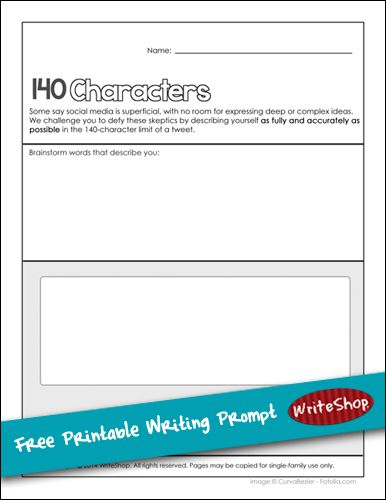 140 Characters Writing Prompt Free Printable Writeshop Homeschool Writing Prompts Free Writing Prompts Persuasive Writing