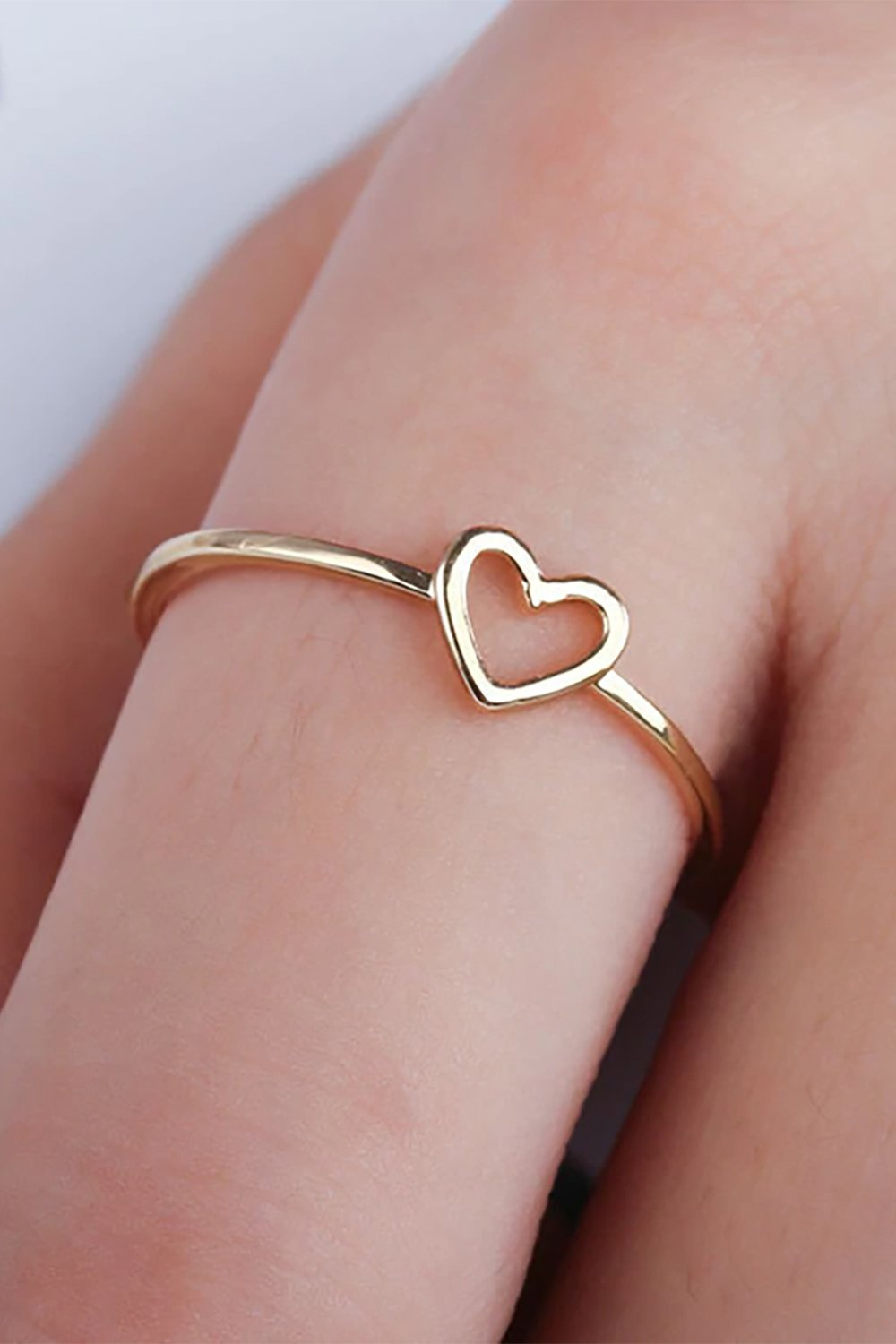 UNIQU® New Fashion Gold Silver Color Rings Metal Love Heart Ring For Women