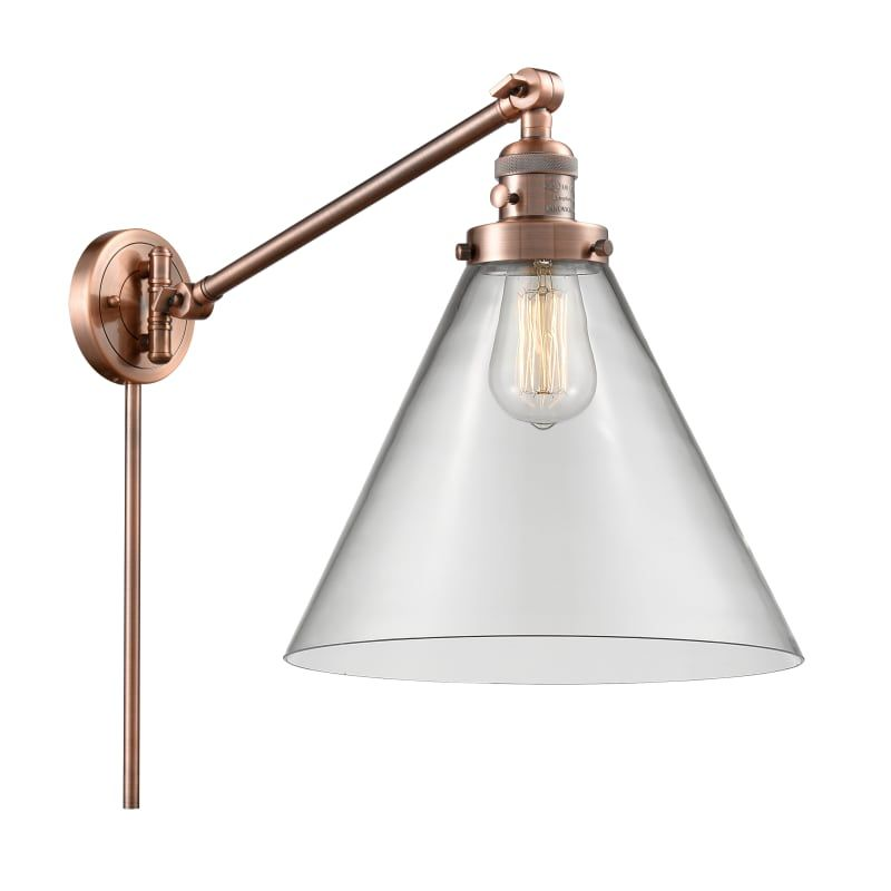 Photo of Innovations Lighting 237 X-Large Cone X-Large Cone Single Light 16″ Tall Bathroo Antique Copper / Clear Indoor Lighting Bathroom Fixtures Bathroom