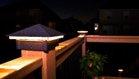 Evergrain deck redwood with moonlight decks post lights in olathe deck lighting using low voltage lighted post caps under railing led lights and step lights mozeypictures Gallery