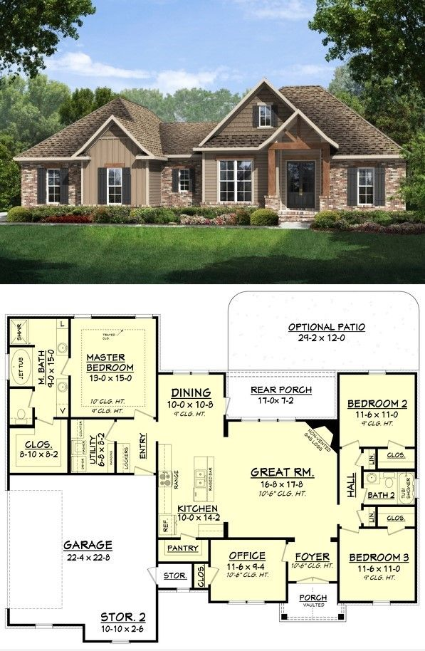 Modern Craftsman Style Home Plan Craftsman Style House Plans Home Design Floor Plans Dream House Plans