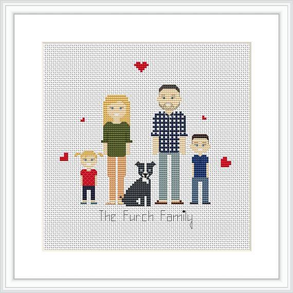 Custom Family 5 Characters Pdf Cross Stitch Pattern Cross Stitch