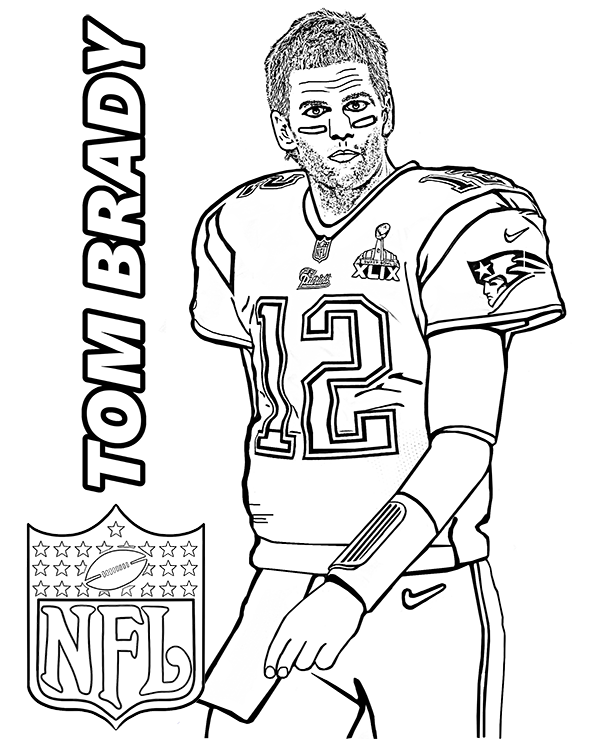 Tom Brady coloring page with American Football player