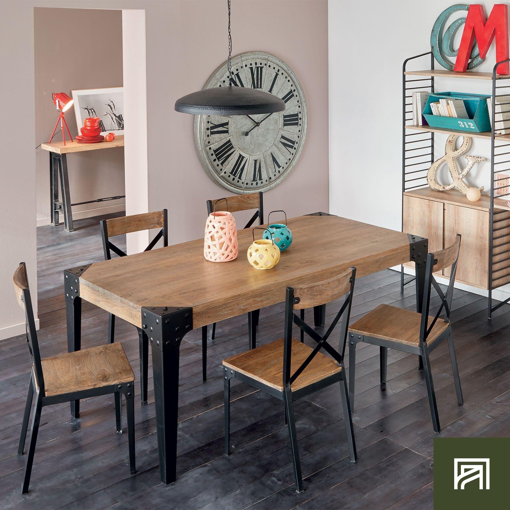 Alinéa Salle À Manger alinea : bark table rectangulaire en orme massif et métal