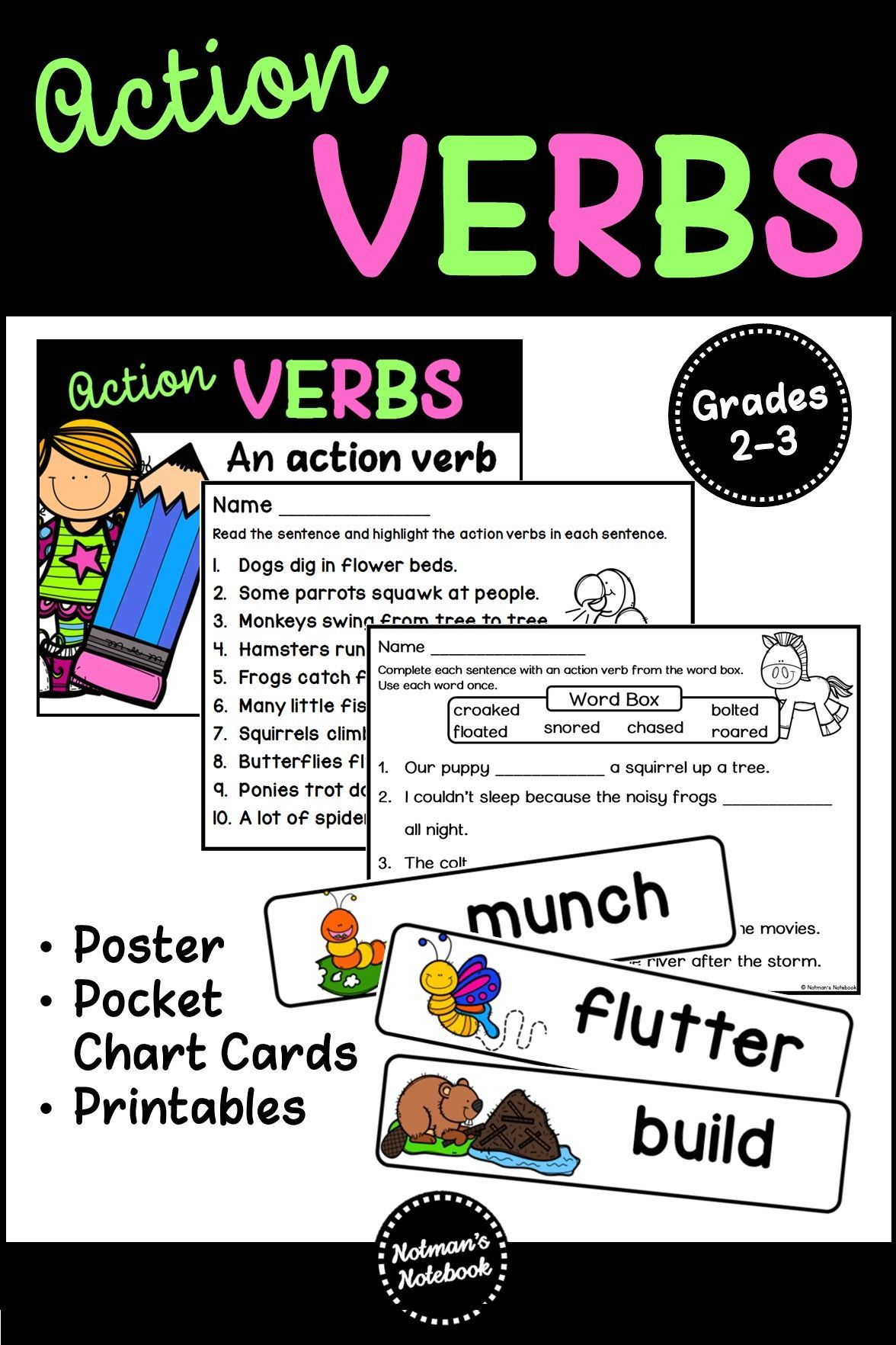 Action Verbs Worksheets and Picture Cards | Notman's