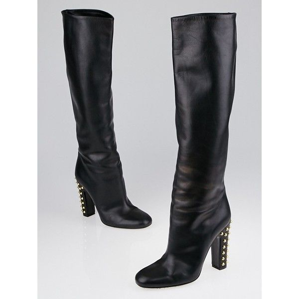 9401a5e18 Pre-owned Gucci Black Leather Jacquelyne Studded Heel Tall Boots ($495) ❤  liked on Polyvore featuring shoes, boots, black studded knee high boots, ...